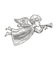 angel sketch hand drawn symbol vintage vector image