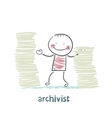archivist is standing near the pile of papers vector image