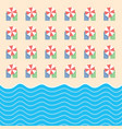 beach stuff with towel and sea paradise set vector image vector image