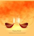 burning diya lamps for diwali festival greeting vector image vector image