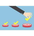 Businessman hand put the check mark on targets vector image vector image