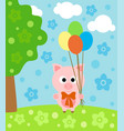 cartoon background with funny pig vector image vector image