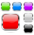 colored buttons set shiny 3d glass square icons vector image vector image