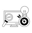 computer with light bulb magnifying glass and vector image vector image
