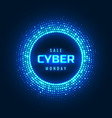 cyber monday concept banner with neon glowing vector image