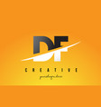 df d f letter modern logo design with yellow vector image
