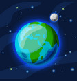 earth with moon cartoon and flat vector image vector image