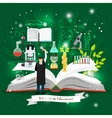 Education infographics with open book vector image vector image