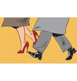 Feet man and woman Shoe go bad weather street pop vector image