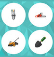 flat icon dacha set of pump trowel lawn mower vector image vector image