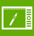 graphics tablet icon green vector image vector image