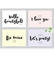 Greeting cards set for Valentines day vector image
