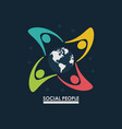 group of people around earth globe concept social vector image