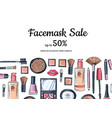 hand drawn makeup products sale background vector image vector image