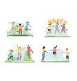 happy children jumping vector image vector image