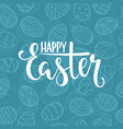 happy easter lettering on seamless background vector image vector image