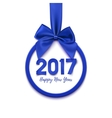 Happy New Year 2017 round blue banner vector image