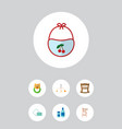 icon flat child set of crib cosmetics stool and vector image vector image