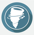 icon wind on white circle with a long shadow vector image vector image
