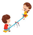 kids playing on seesaw vector image vector image