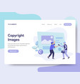 landing page template of copyright images vector image vector image
