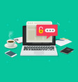 laptop computer with password notification and vector image vector image