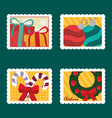 merry christmas postage stamps set gift boxes vector image vector image