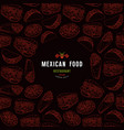 mexican restaurant label and frame with pattern vector image