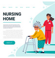 nursing home web banner template old lady with vector image