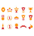 orange and red color award icons set vector image