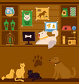 pet shop interior with cartoon animals as sellers vector image vector image
