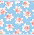 pink lily on light blue background vector image vector image