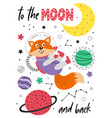 poster with fox in space on white background vector image vector image