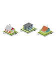 residential house buildings set isolated on white vector image
