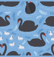 seamless pattern with flock of black swans and vector image vector image
