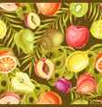 seamless pattern with ripe fruits and palm leaves vector image