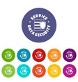 service data security icons set color vector image