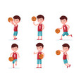 set boy basketball player playing with a ball vector image vector image