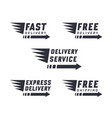 set delivery text signs and label vector image vector image