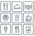 set of 9 restaurant icons includes eating house vector image vector image