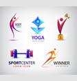 set sport logos man runner gym yoga vector image