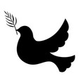 silhouette dove with palm branch vector image vector image