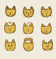 Sketch cat emoticon vector image