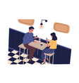 smiling man and woman use smartphone sitting at vector image vector image