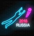 soccer world tournament neon sign with football vector image