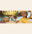 summer camp poster with people going to hike vector image vector image