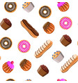 sweet desserts set seamless pattern vector image
