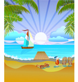 Travel The sea yachts palm trees Furlough vector image vector image