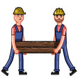 two builders bears a timber vector image