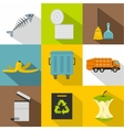 Types of waste icons set flat style vector image vector image